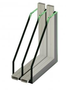 Izolační bezpečnostní trojsklo s hliníkovým rámečkem, Ug= 0,7 (celková síla izolačního trojskla 40,8mm – 45,6mm)